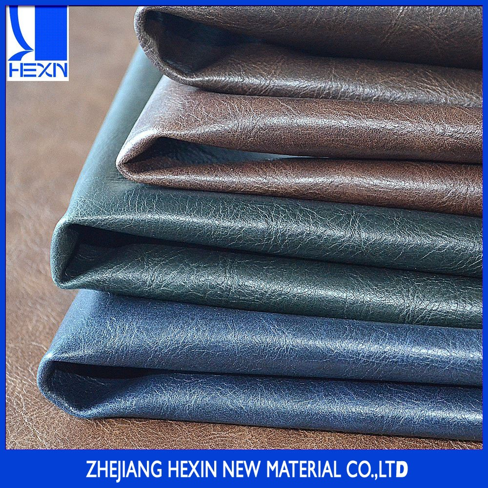 Hot selling 0.9mm synthetic leather with oily crazy horse effect for casual shoes ,cowboy boot shoes and man bags