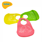 Factory Direct Selling Waterproof Baby Silicone Bib With Food Catcher Pocket And Adjustable Collar