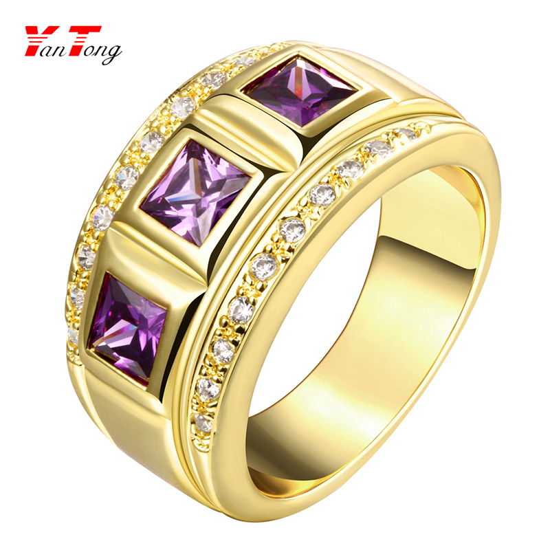 16 K Gold Three Stones Amethyst New Design Gold Finger Band