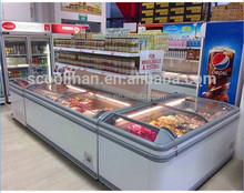 Supermarket Combined Island Chiller/ Curved Glass Island Freezer for Frozen Food