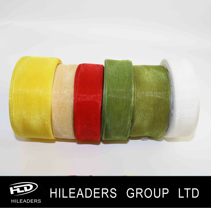 Two Color Striped Sheer Organza Ribbon DS808