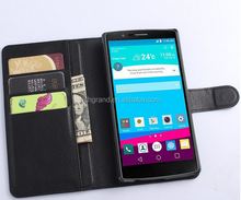 Luxury wallet Flip Lichee PU Leather Case For LG G4 With Stand Holder Card Slot