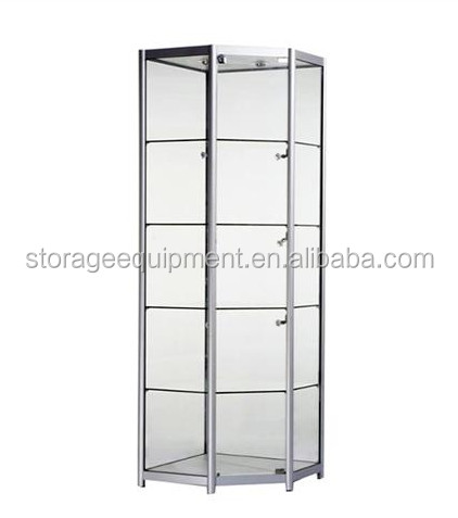 Tower glass store mobile phone display showcase with cheap price