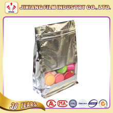 Ambossing Flat Bottom Aluminum Foil Zip Lock Bag With Window For Nuts And Snack