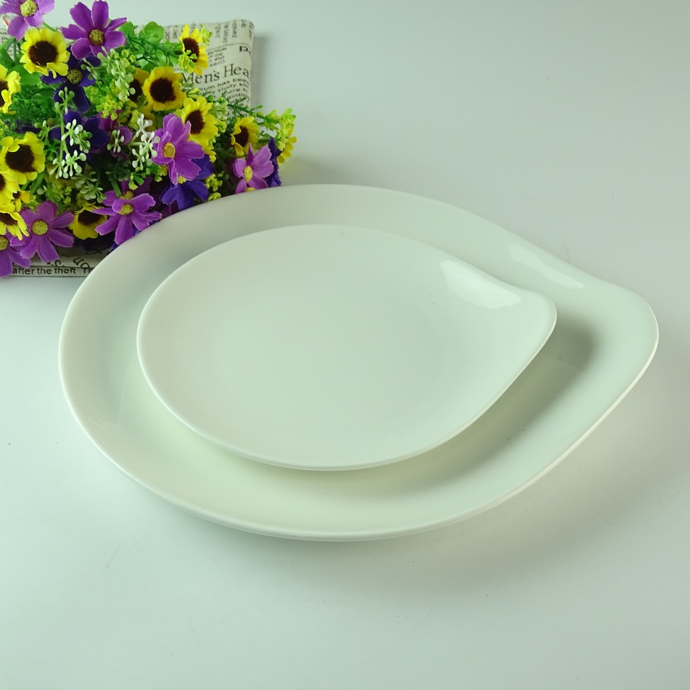 wholesale stock white ceramic plate set,flat dinner plate with water drop shape