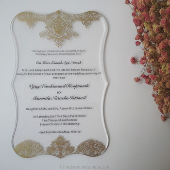 wedding invitation card luxury 5*7inch printing golden lace patterns 3mm thick clear acrylic(1lot=100pcs)