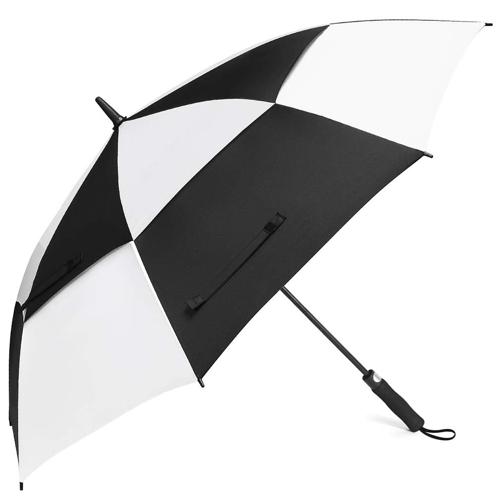Classic style black and white double canopy 60inch 8ribs windproof fiberglass frame strong golf umbrella