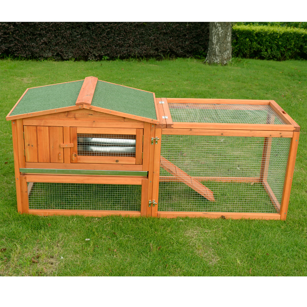 "Pawhut Deluxe 62"" Wooden Rabbit Hutch / Chicken Coop w/ Outdoor Run"