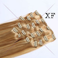 Alibaba Express online shopping double drawn virgin hair blonde Brazilian hair clip in hair extension