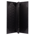China Supplier Trifold Black Leather Restaurant Menu