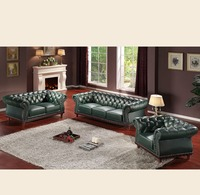 antique wooden green italy heated leather sofa in stocks SL0003