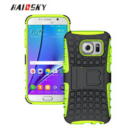 HAISSKY Armor Case For Samsung Galaxy S7 Edge Cover Case Soft Silicone & Hard PC 2 in 1 Hybrid Shockproof Funda Stands Case