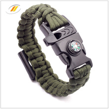 Wholesale paracord survival bracelet with fire starter buckle