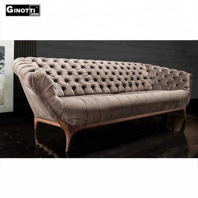 Creative Scandinavian design crystal tufted vintage velvet <strong>sofa</strong> with crystal buttons