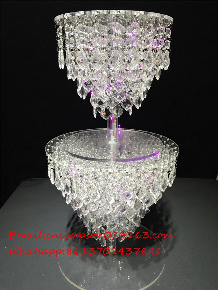 acrylic crystal wedding chandelier cake stand