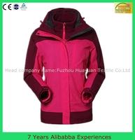 women 3 in 1 jacket 100% polyester lightweight waterproof jacket outdoor jacket