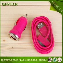Customized 2 in 1 car charger set,micro usb cable for all mobile phones