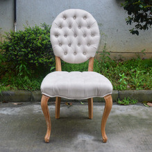 French style round back&white linen button fabric armless louis dining chair