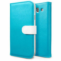 Sky blue hybrid PU+PC flip case for s4 mobile phone