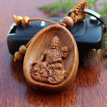 Real rosewood lucky car bag pendant Buddha buddhism wood Keychain accept customize