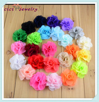 Baby Hair Accessory DIY Chiffon Flower Without Clip Hair Flower 25 Color For Choose