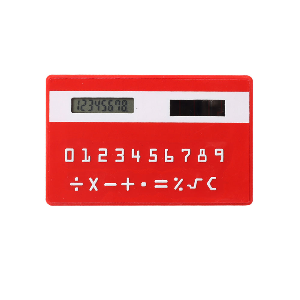 credit card design 8 digit mini slim card cheap solar power pocket calculator