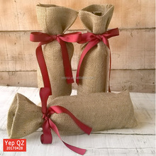 China factory supply new design blank jute burlap tote bottle Wine Gift Bag for promotion