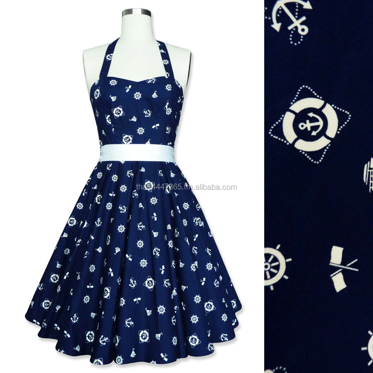 Rockabilly 50s Sailor Nautica Corset Petticoat Gothic Retro Punk Emo Pin Up Vintage Party Swing Dress