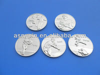 matt silver finishing 25th anniversary baseball star souvenir coins brass