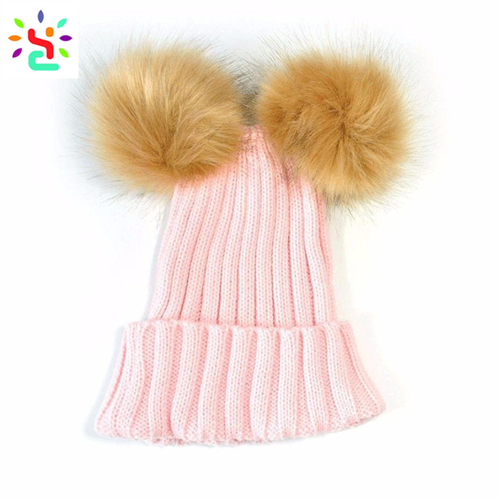 Knit winter hats women beanie double pom pom hat blank beanies with two racoon fur balls hats knitted beanie