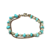 Turquoise Lobster Clasp Gold Chain Strand
