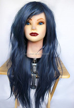 Factory Price Top Fashion Natural Straight 100% Human Hair 26 Inch Brazilian Hair Dark Blue Wig