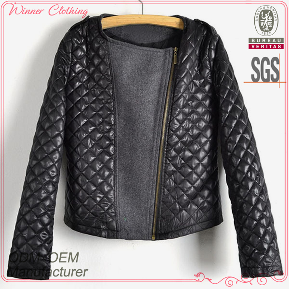New designs high fashion good quality ladies hot selling woman leather jacket