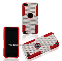 Red White Mobile Phone Accessory For Ipod Touch 5 Hard Net Shell Soft Silicone Combo Case