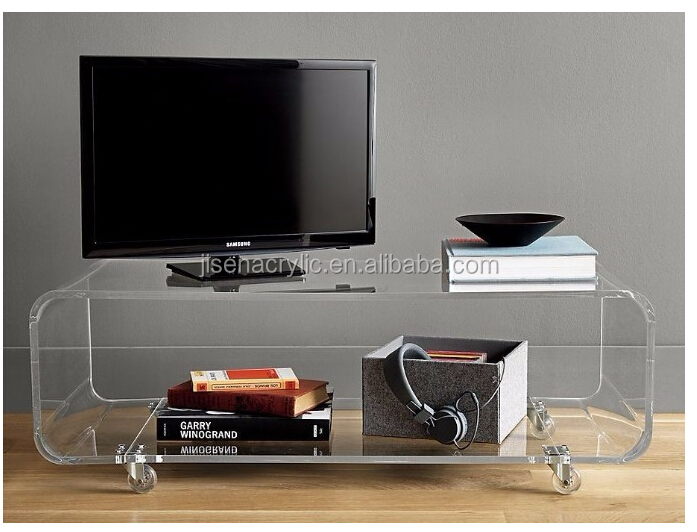 Hot Sale Clear Acrylic Movable Monitor TV computer Stand Table with Wheel