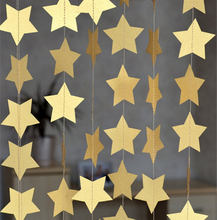 4M Gold Star Garlands for Windows Doorway Ceiling Decorations Wedding Decoration Showers Birthday Party Decoration