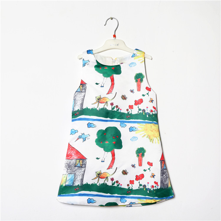 Printing Vest Dress Boutique Plain Girls Frock Designs
