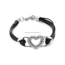 Love heart connector twisted leather cord bracelets for boys and girls