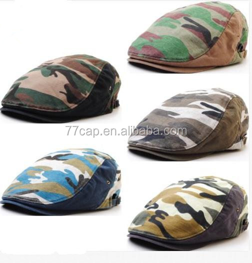 Military Style Beret Fashion Camo Newsboy Hat /Ivy Cap