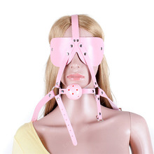 Open Mouth Ball Gag With Blindfold BDSM Sex Products Sex Toys for Couples Leather Head Harness Bondage Adult Sex Game Toys