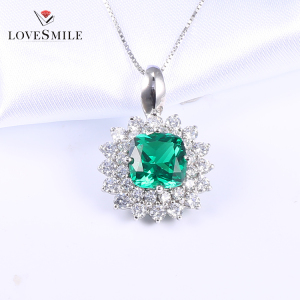 Best quality jewelry necklace Green NANO gemstone 925 sterling silver pendant