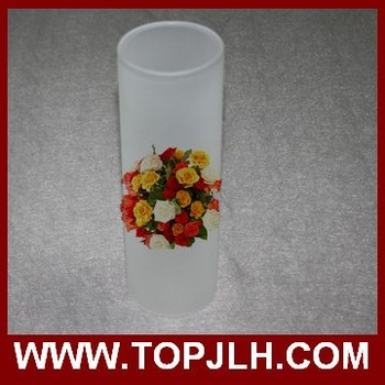 sublimation frosted flower shaped glass vase