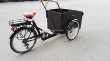 Three wheel bike reverse electric trike/tricycle with front cargo box for family