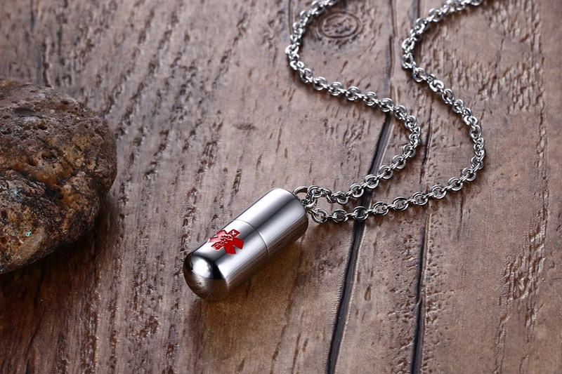Fashion stainless steel medical can open pill pendant necklace