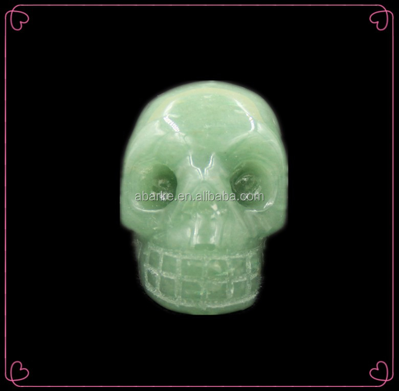 Wholesale Natural Hand Carved Green Aventurine Crystal Skull, Stone Human Skull Head For Craft