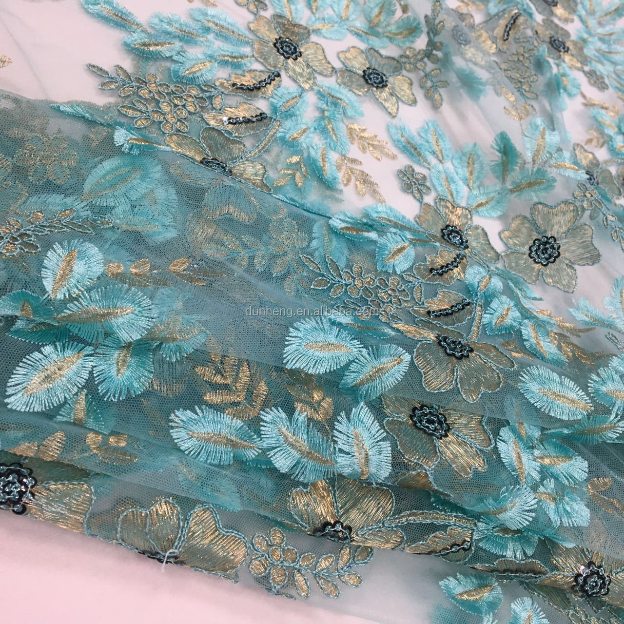 New design, 3mm spangle fansy laser embroidery fabric for dress