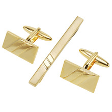 Custom Gold Two Tone Rectangular Cufflinks and Tie Pin Clip Set