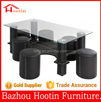 2015 new look living room furniture coffee table with clear glass table top and metal base with leather cover