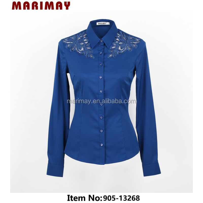 Shirt design long sleeve lace shirt fashion vetement femme for ladies office wear