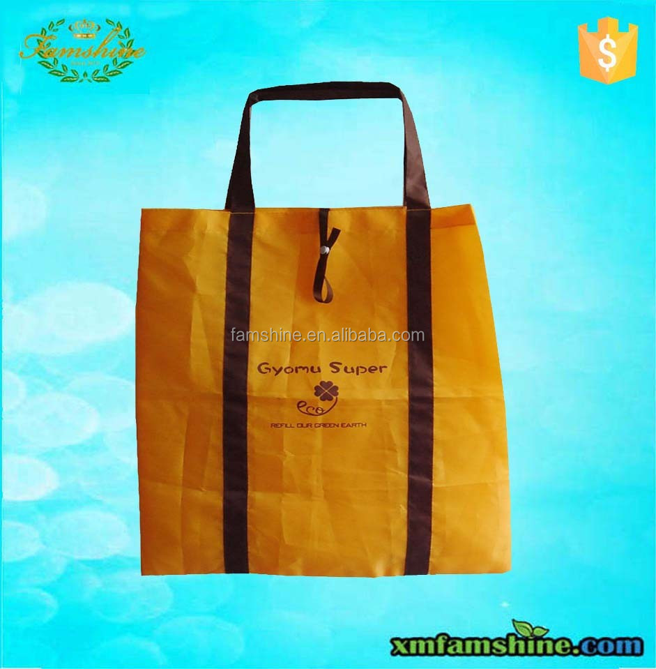 promotional polyester reusable folding shopping bag